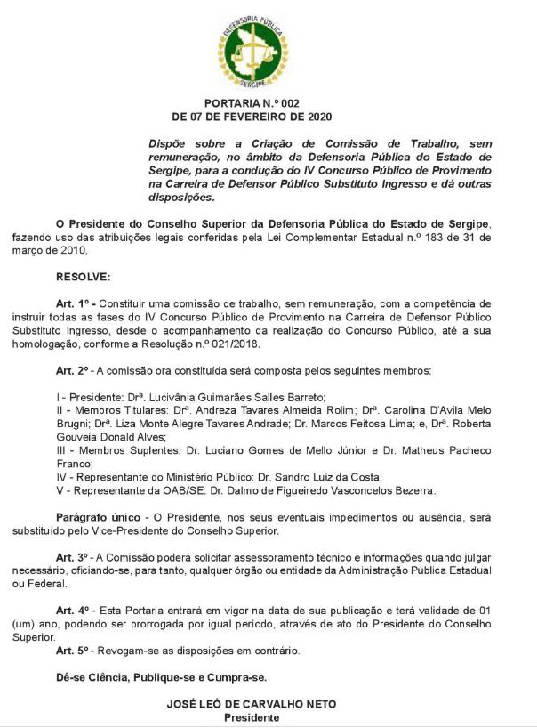 Comissão organizadora do concurso DPE SE