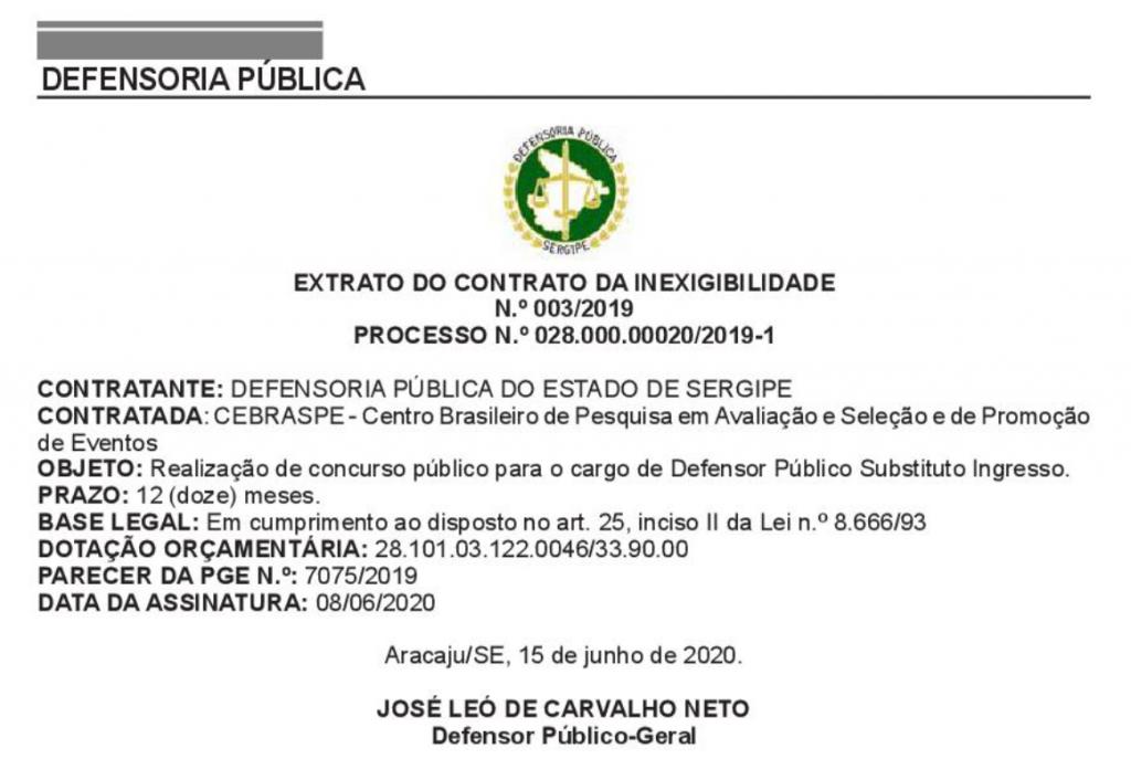 Extrato de contrato com a Banca CEBRASPE para a organização do Concurso DPE SE