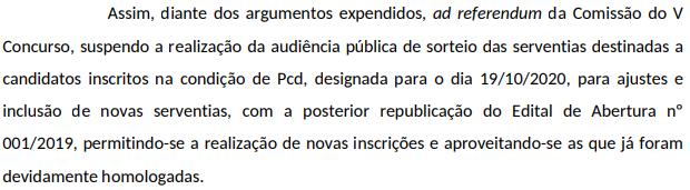 Documento autorizando a suspensão do atual concurso para republicação do edital de abertura